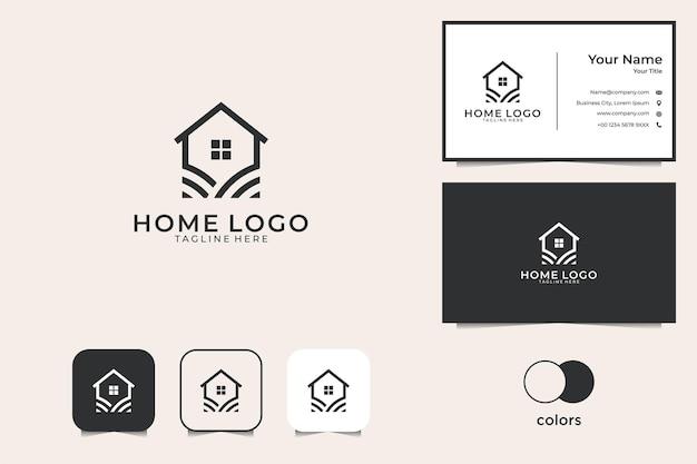 Eenvoudig huis met logo-ontwerp in lijnstijl en visitekaartje
