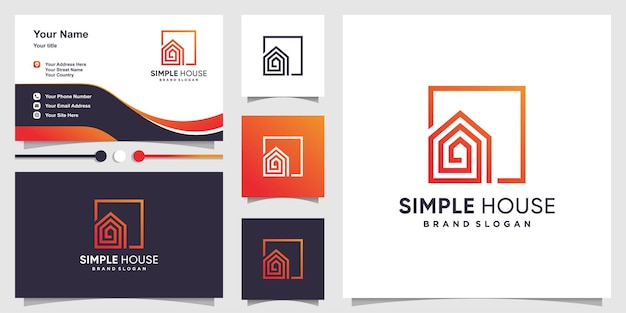 Eenvoudig huislogosjabloon en visitekaartje premium vector