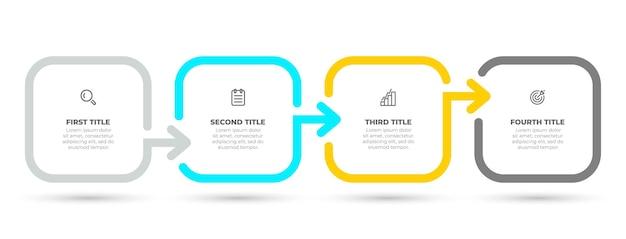 Eenvoudig infographic sjabloonontwerp met pijl en marketingpictogrammen