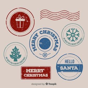 Eenvoudig kerstzegels pakket