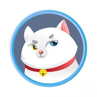 Eenvoudig leuk wit kattenbeeldverhaalontwerp