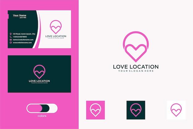 Eenvoudig liefdeslocatie logo-ontwerp en visitekaartje
