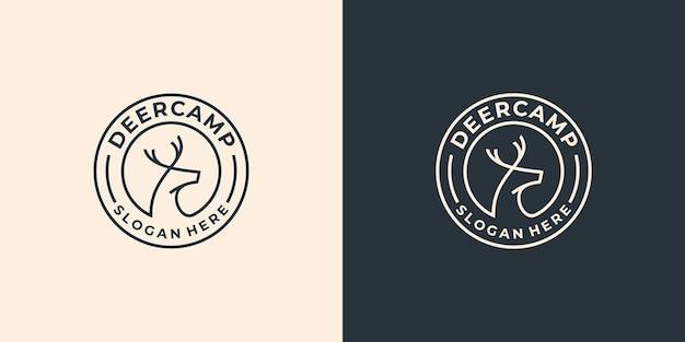 Eenvoudig lijntekeningen herten logo-ontwerp,