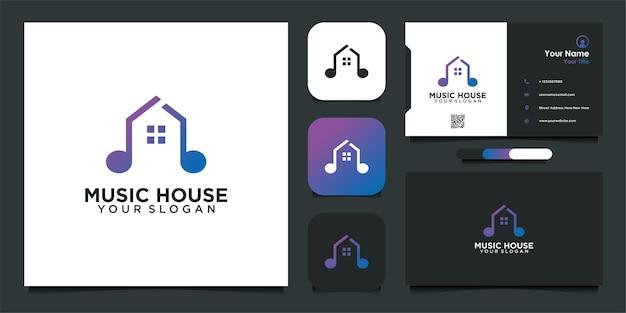 Eenvoudig logo-ontwerp en visitekaartje van het muziekhuis
