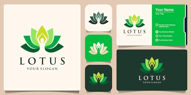 Eenvoudig lotus flower-logo en visitekaartjeontwerp