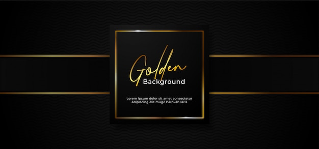 Eenvoudig luxe professioneel document vakje kenteken met fonkelend gouden vierkant kader op donkere zwarte achtergrond