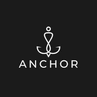 Eenvoudig minimalistisch ankerlogo-ontwerpsjabloon met witte kleur