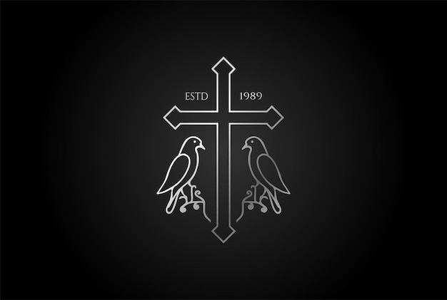 Eenvoudig minimalistisch christelijk jezuskruis met duifduiflijnoverzicht voor kerkkapel logo-ontwerp vector