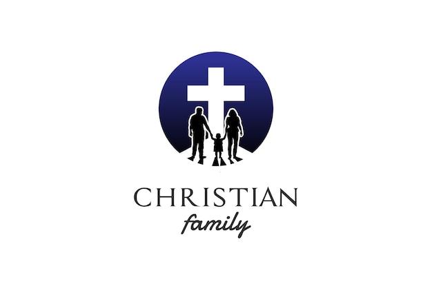Eenvoudig minimalistisch jesus christian cross met familiesilhouet voor het embleemontwerp van de kerkschool vector