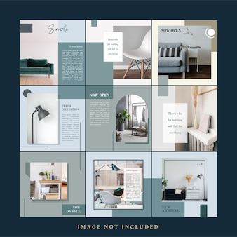 Eenvoudig minimalistisch meubilair social media postsjabloon set bundel