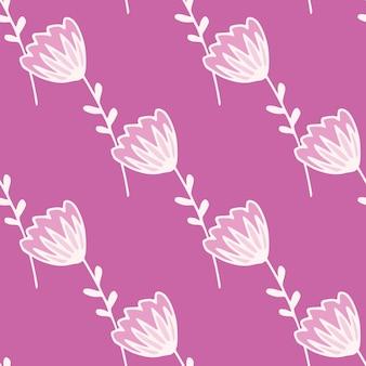 Eenvoudig minimalistisch naadloos patroon met witte voorgevormde bloem. lila achtergrond.