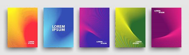 Eenvoudig modern covers-sjabloon, set van minimale geometrische halftone verlopen
