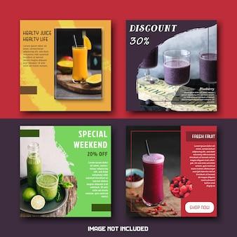 Eenvoudig modern drankje sap social media posts template set bundel