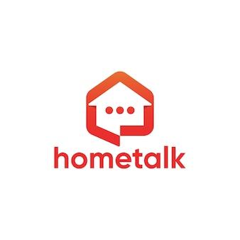 Eenvoudig modern huis praten logo ontwerpsjabloon