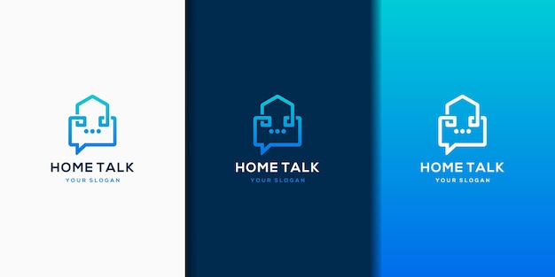 Eenvoudig modern huisgesprek logo ontwerpsjabloon