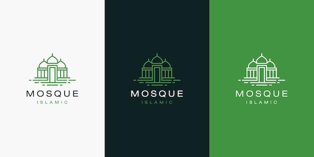 Eenvoudig modern logo-ontwerp van de moskeeillustratie met lijnstijl