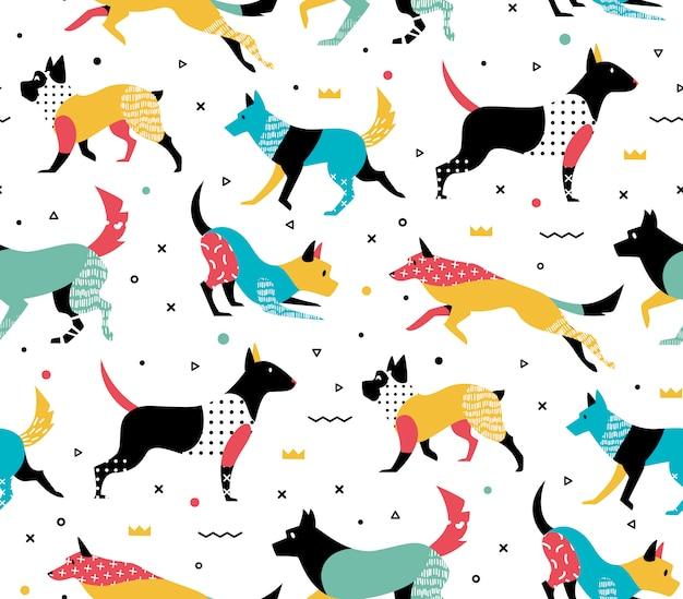 Eenvoudig modern patroon met honden in memphis stijl