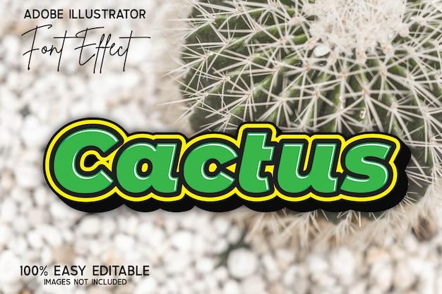 Eenvoudig modern vet groen cactus bewerkbaar lettertype-effect