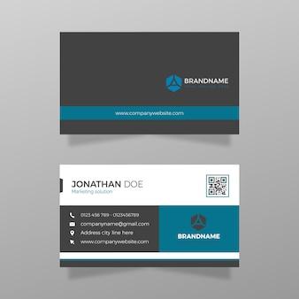 Eenvoudig modern visitekaartje met blauwe kleurensjabloonvector
