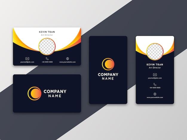 Eenvoudig modern visitekaartje met verticale en horizontale versie