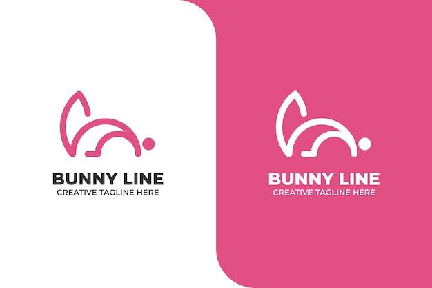 Eenvoudig monoline-logo met roze konijn