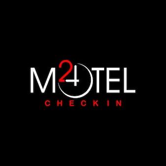 Eenvoudig motel logo ontwerp typo vector