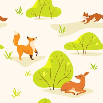 Eenvoudig naadloos trendy patroon met dieren en struiken. vos, marter, reekalf lopen rond in het bos. tekenfilm