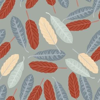 Eenvoudig naadloos willekeurig patroon met bladeren.