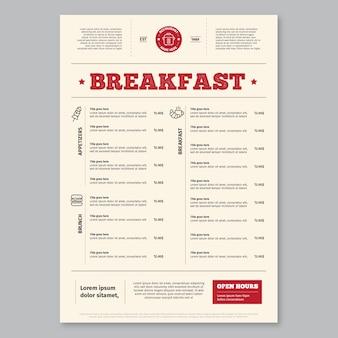 Eenvoudig ontbijt menusjabloon
