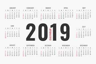 Eenvoudig ontwerp van de kalender van 2019