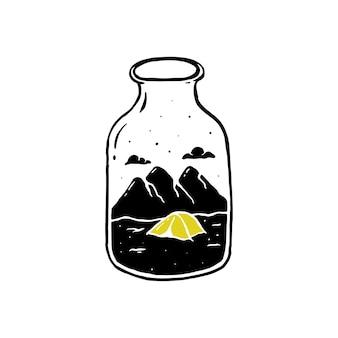 Eenvoudig ontwerpfles met bergkampillustratie