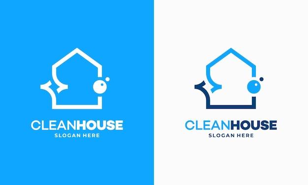 Eenvoudig overzicht clean house logo ontwerpen concept, schoonmaak service logo vector