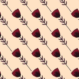 Eenvoudig overzicht tulp bloemen naadloze patroon met zwarte contour. zachte lichtroze achtergrond. gestileerd kunstwerk.