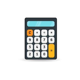 Eenvoudig plat calculatorpictogram dat op witte achtergrond wordt geïsoleerd