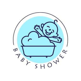 Eenvoudig plat kinderlogo. baby, kinderartikelen, speelgoedwinkel, winkel. kinderen pictogram, babykarakter. gelukkige jong geitjezitting in het bad dat op witte achtergrond wordt geïsoleerd. baby shower logo, babyverzorging cosmetica.
