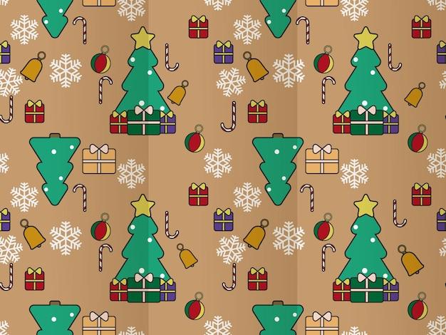 Eenvoudig plat ontwerp kerst naadloos patroon
