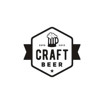 Eenvoudig retro-logo van het ambachtelijke bier