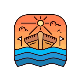 Eenvoudig schip monoline badge-logo