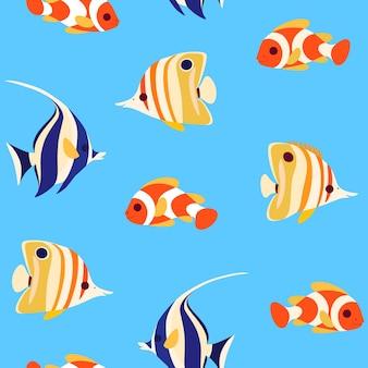 Eenvoudig trendy naadloos patroon met koraalvissen - clownvissen, vlindervissen en moorse idoolvissen. vlak Premium Vector