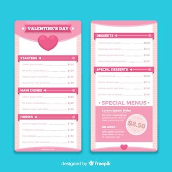 Eenvoudig valentijnsdag-sjabloonmenu