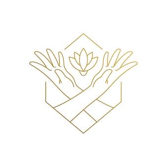 Eenvoudig van lineaire stijl logo ontwerpsjabloon van vrouwelijke handen voeden groeiende bloem getekend met dunne gouden lijnen
