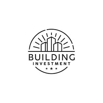 Eenvoudig vintage gebouw, retro onroerend goed labelontwerp logo