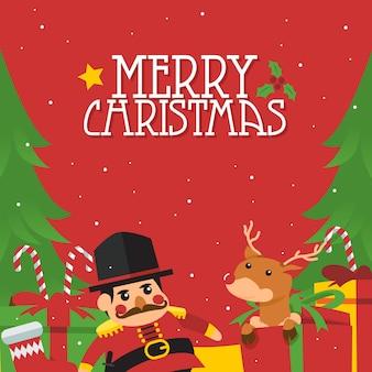 Eenvoudig vrolijk de afficheconcept van de kerstmisillustratie