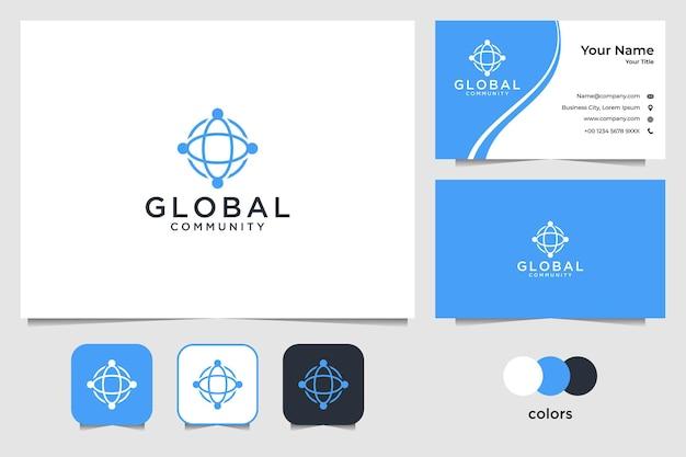 Eenvoudig wereldwijd gemeenschapslogo-ontwerp en visitekaartje