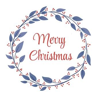 Eenvoudig winterseizoen merry christmas-krans rond frame met blauwe bladeren en feestelijke rode bessen