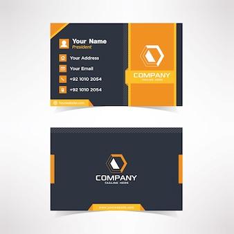 Eenvoudig zwart en oranje visitekaartje ontwerpsjabloon