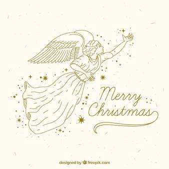 Eenvoudige achtergrond met een gouden engel