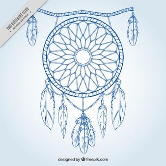 Eenvoudige achtergrond met getekende blauwe kant dreamcatcher