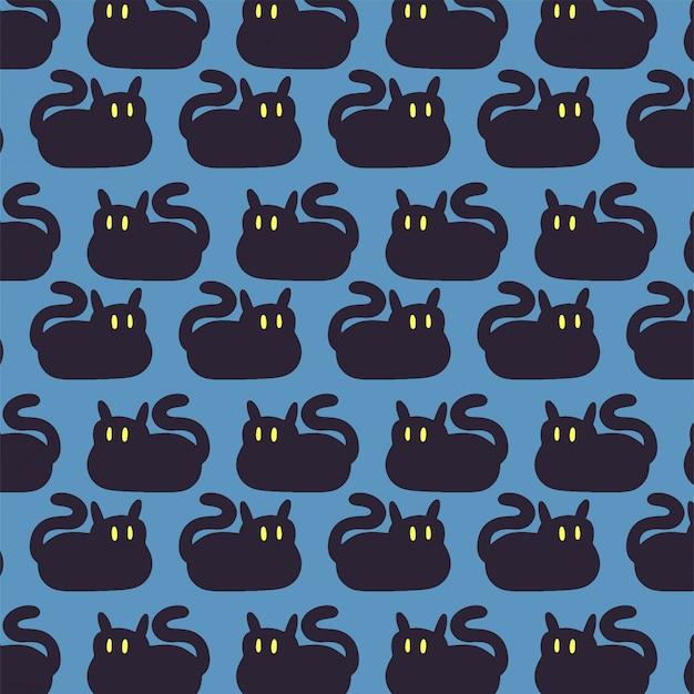 Eenvoudige achtergrond met hand getrokken zwarte katten