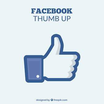 Eenvoudige achtergrond van de duim omhoog van facebook